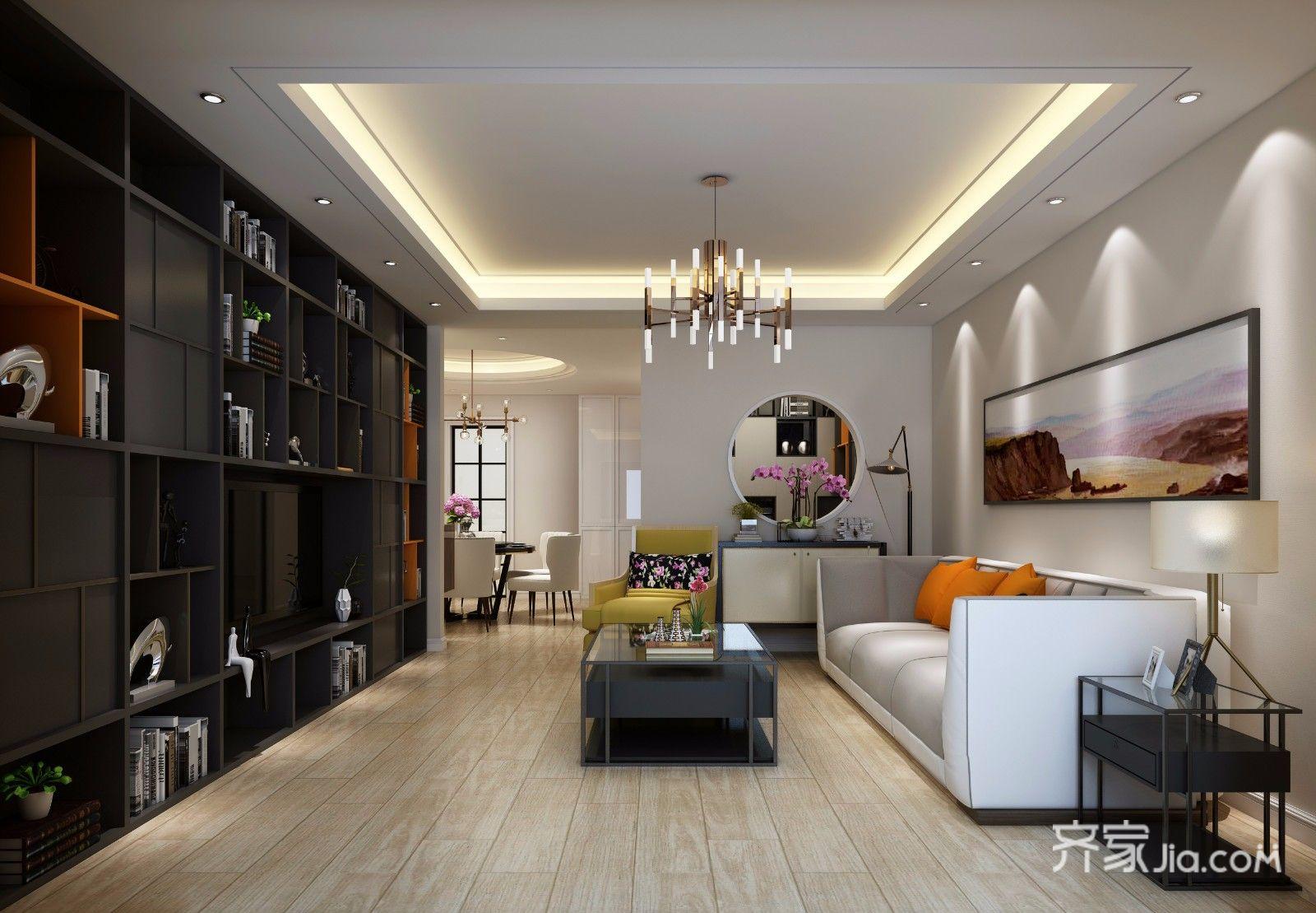 160㎡现代简约三居客厅装修效果图