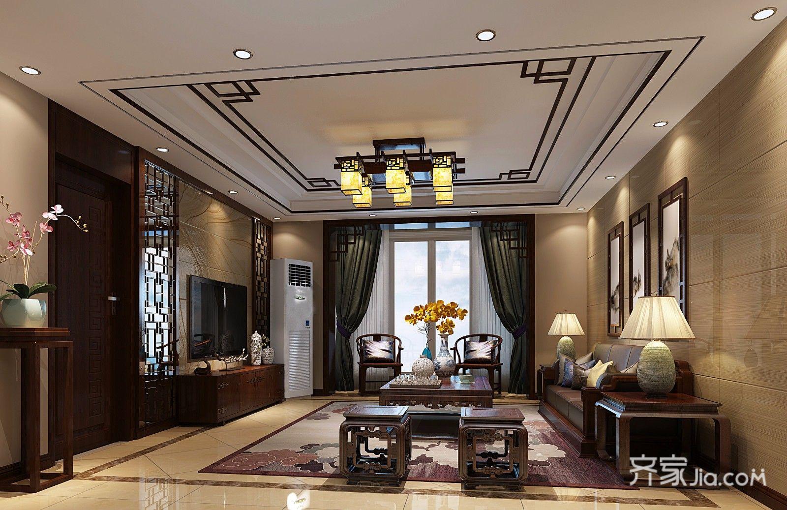 134平中式风格三居客厅装修效果图