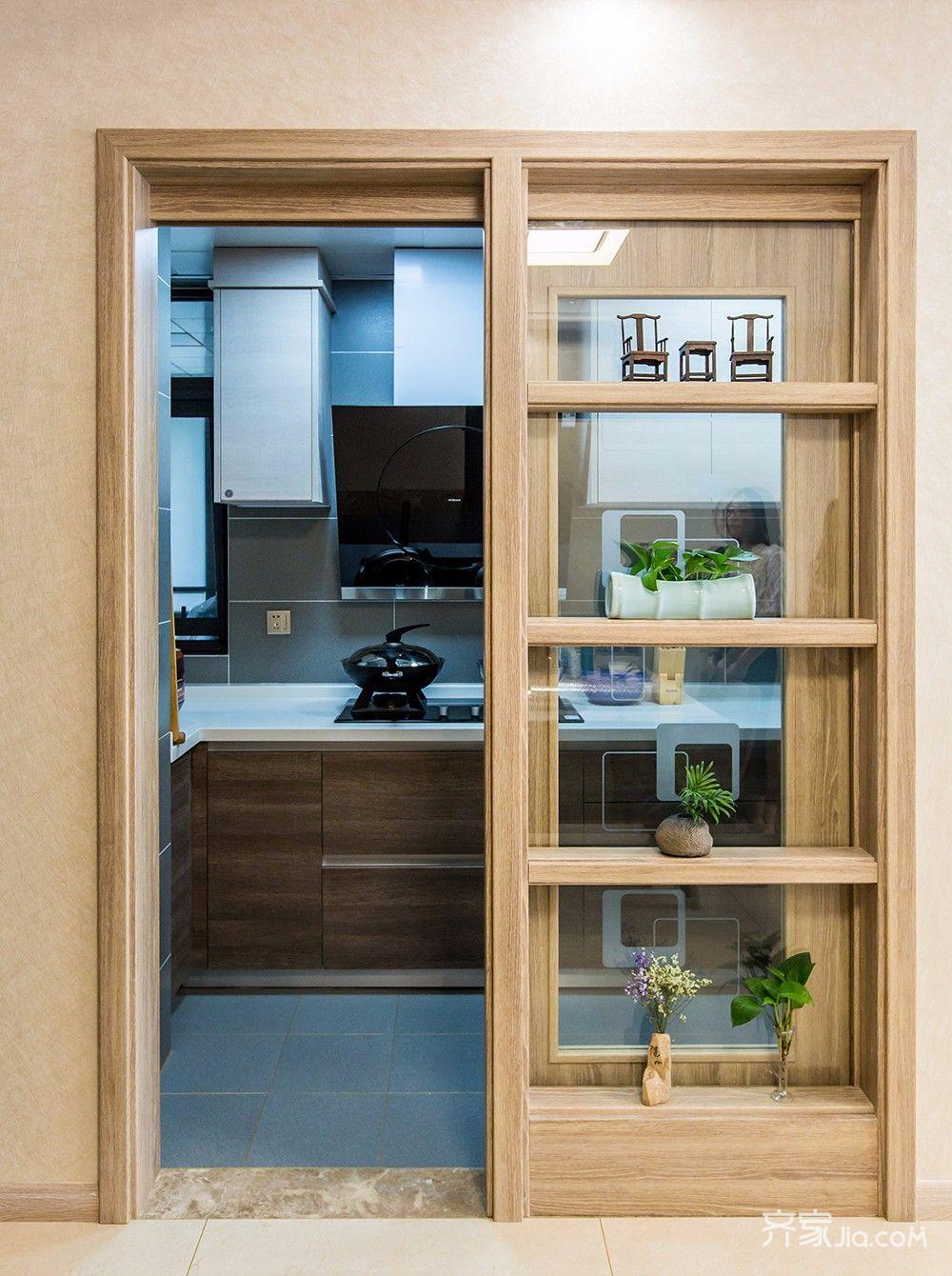 120平现代简约二居装修移门设计图