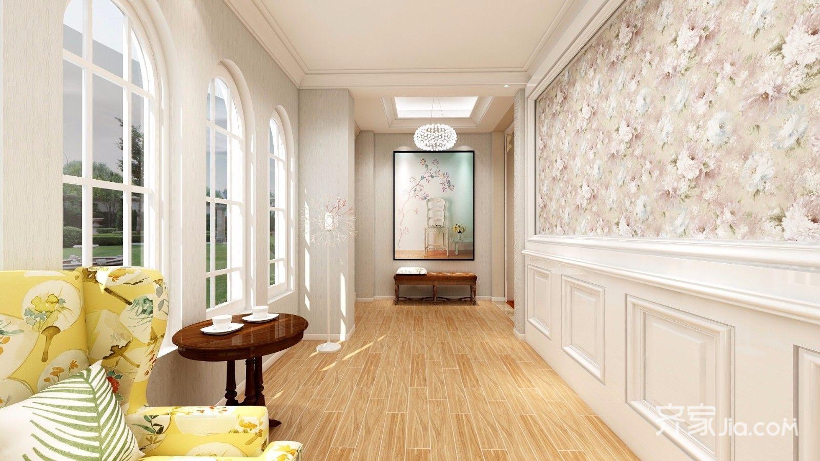 大户型美式风别墅玄关装修效果图