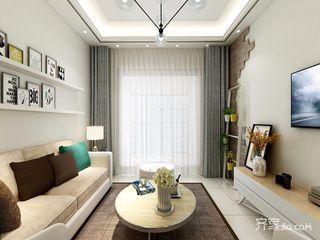 88平混搭风格二居沙发背景墙装修效果图