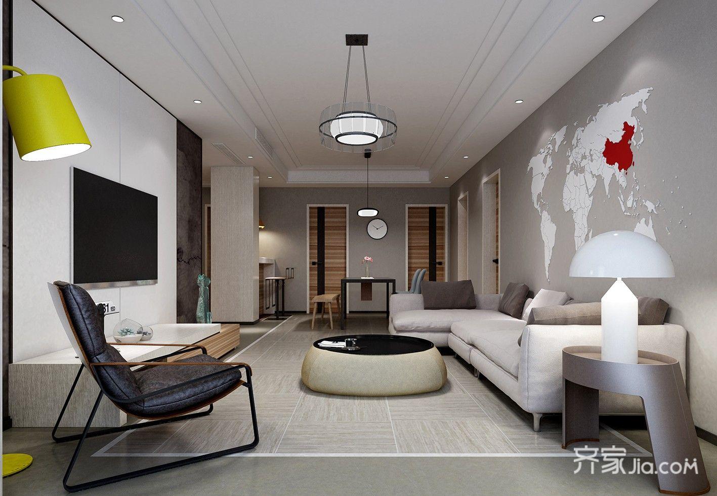128㎡简约风格三居客厅装修效果图