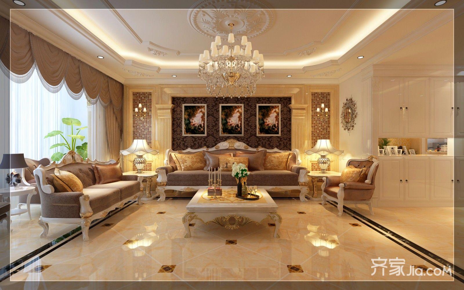 豪华欧式风格三居沙发背景墙装修效果图