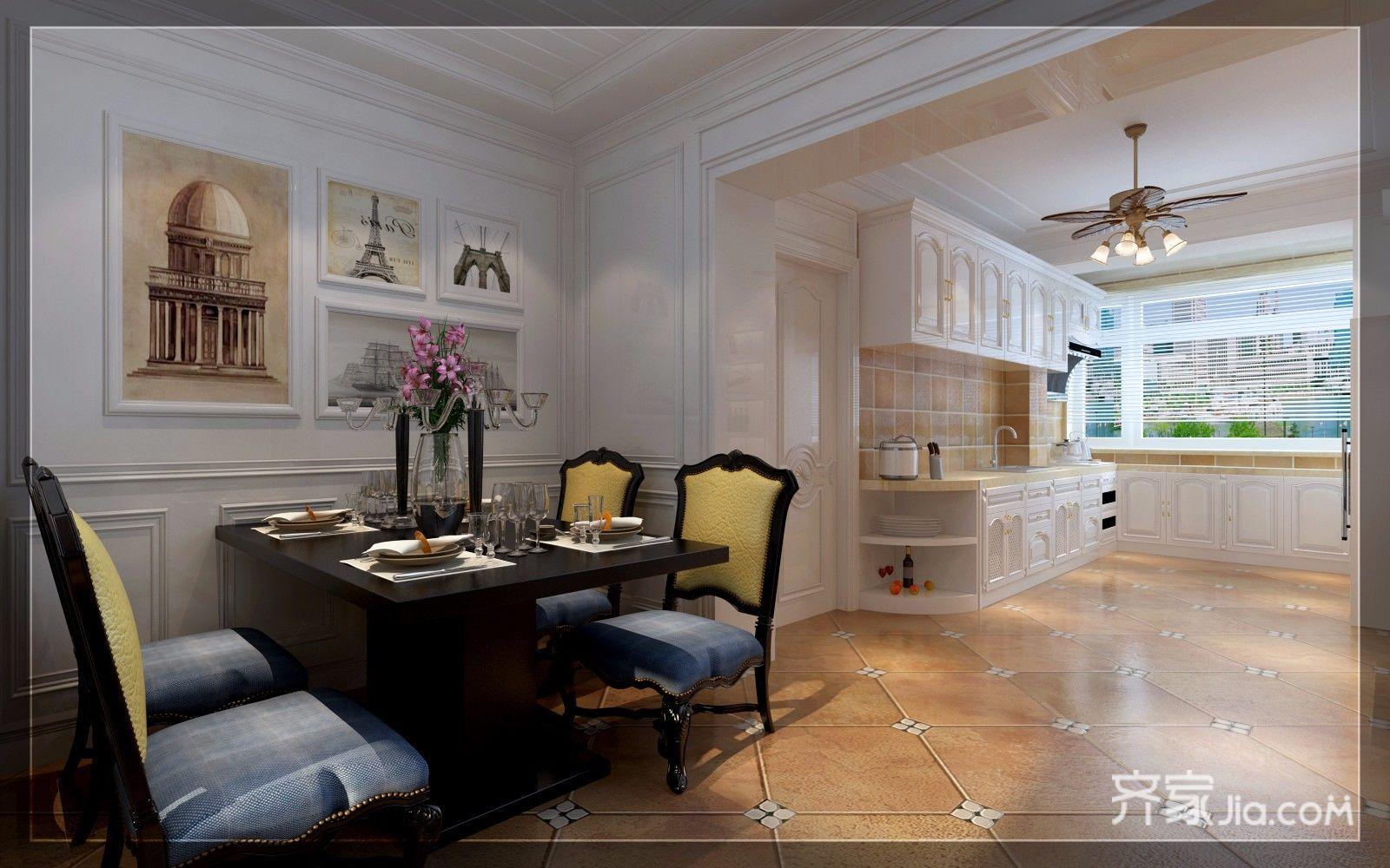 150㎡美式风格三居餐厅装修效果图
