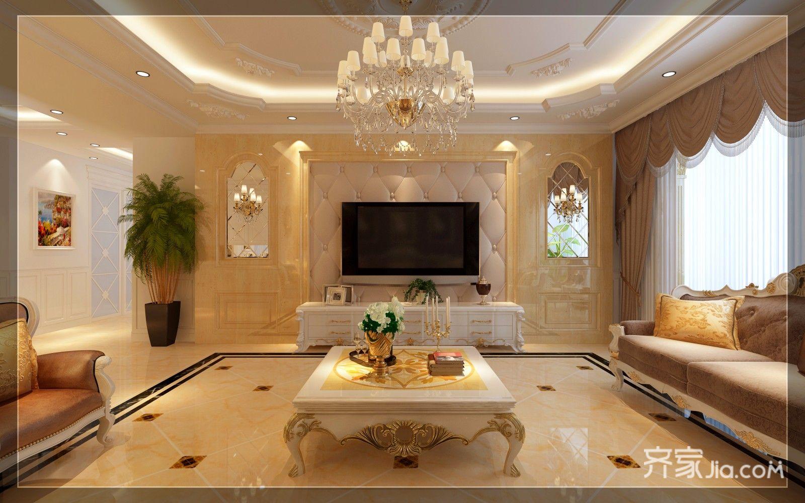 豪华欧式风格三居电视背景墙装修效果图