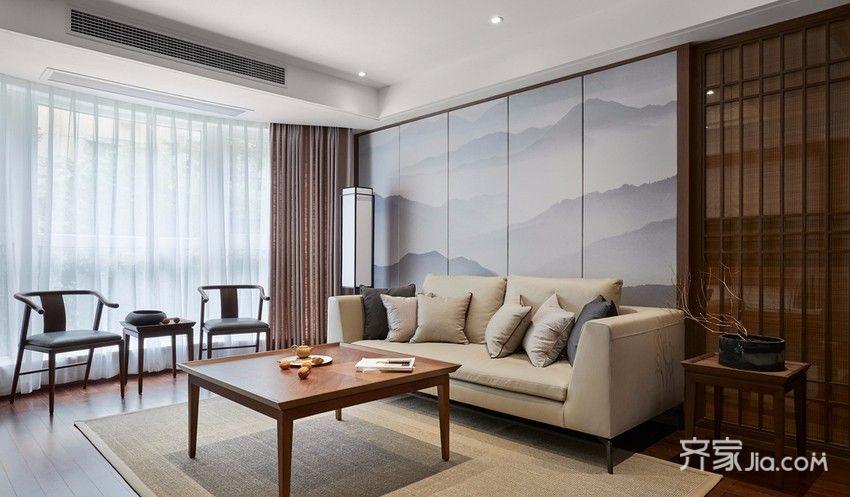 140平新中式风三居装修效果图