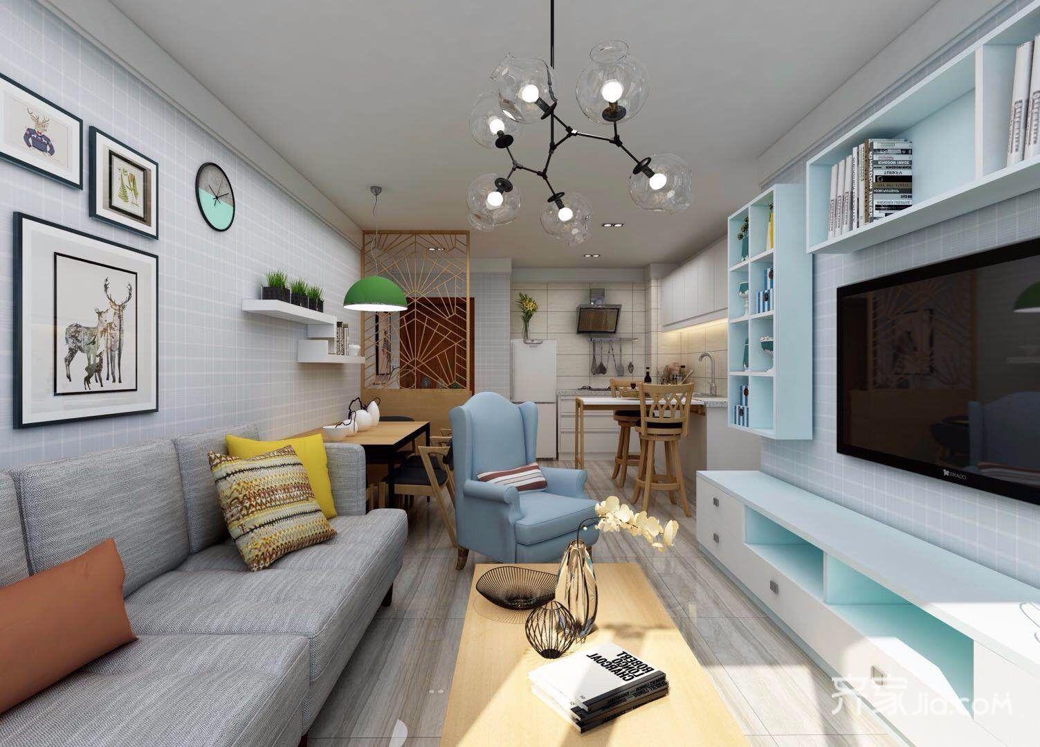 小户型北欧一居室客厅装修效果图