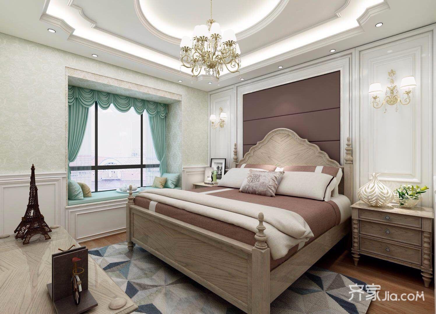 108平美式风格三居装修卧室效果图