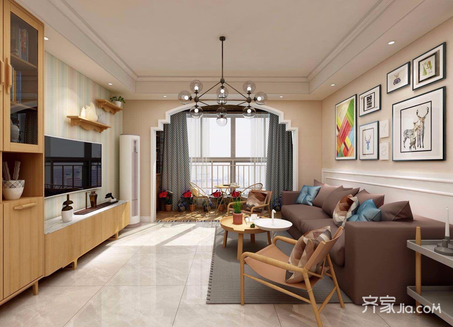 120㎡北欧风格三居客厅装修效果图