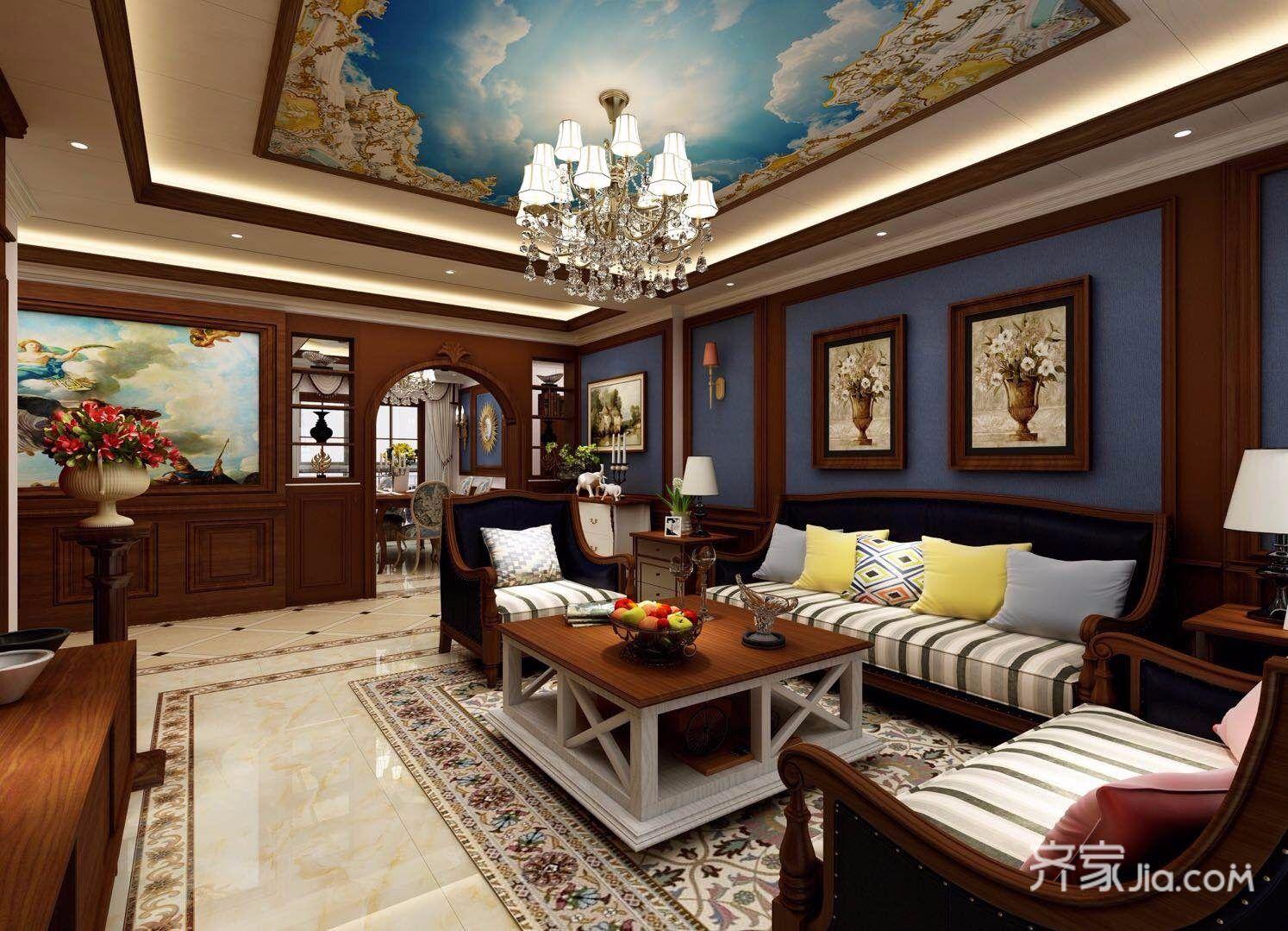 86平美式风格三居客厅装修效果图