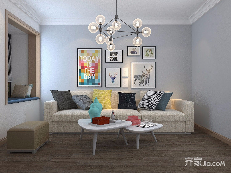 90平米简约风两居沙发背景墙装修效果图