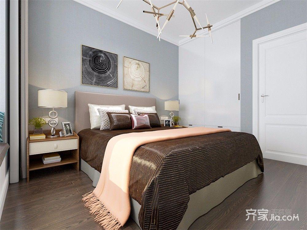 80㎡现代简约三居卧室装修效果图