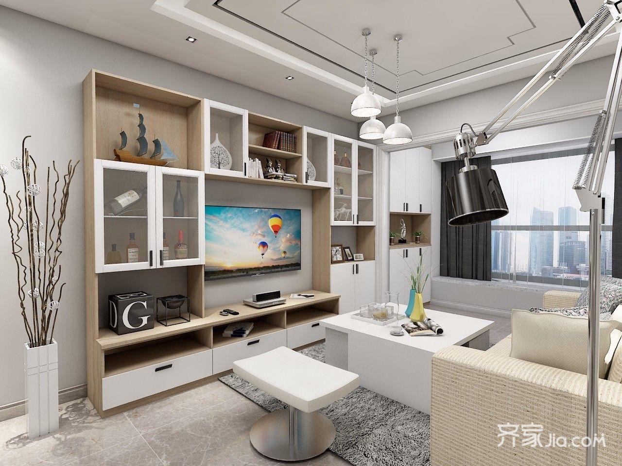 150平现代简约四居电视背景墙装修效果图