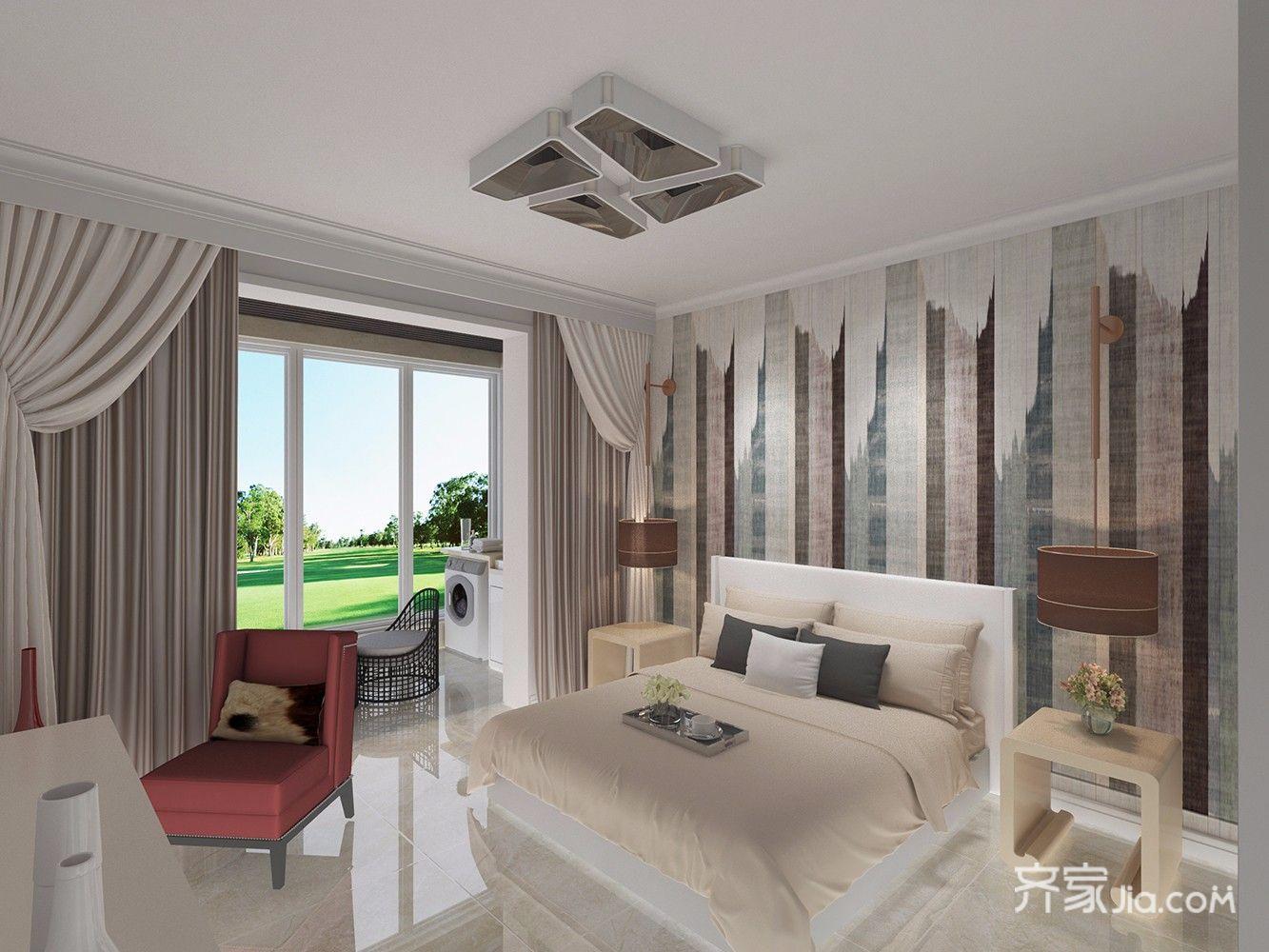 138平混搭风格三居卧室装修设计图