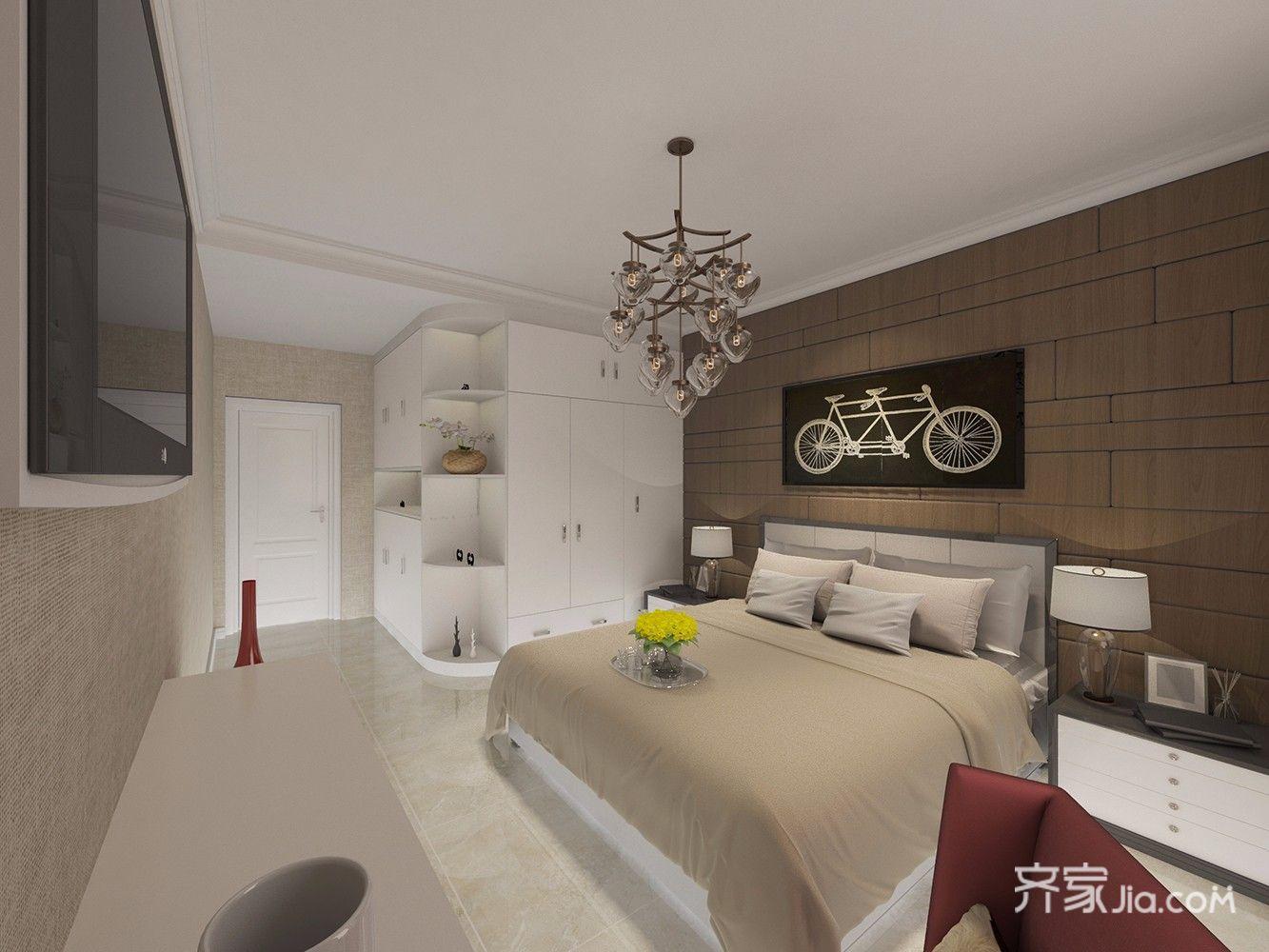 138平混搭风格三居卧室装修效果图
