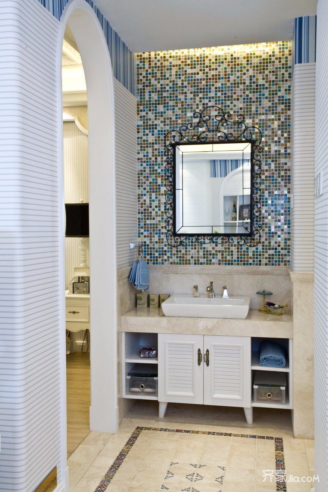 地中海风格二居装修洗手台设计图