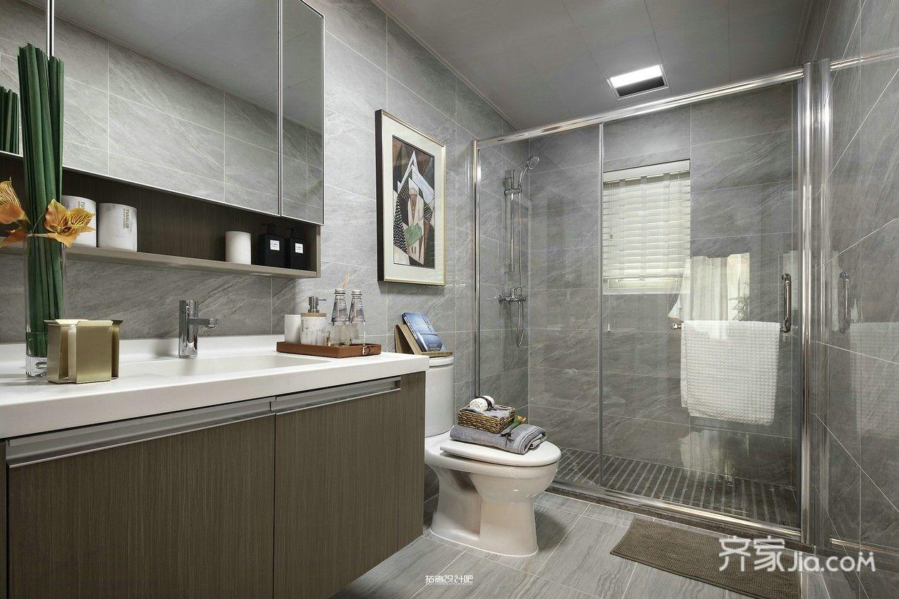 美式混搭风三居装修浴室柜设计图