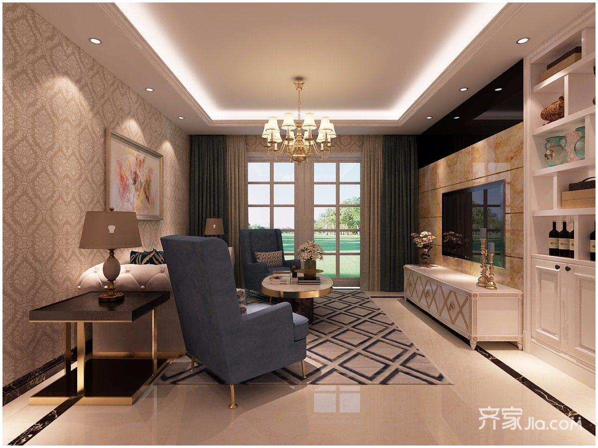 100㎡欧式风格两居客厅装修效果图