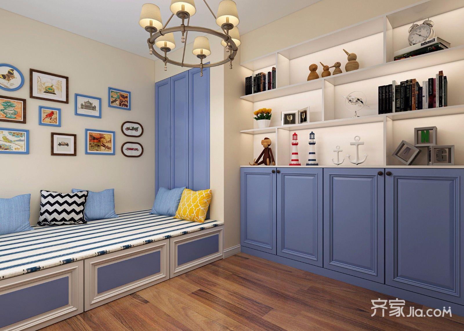 78平地中海风格二居卧室装修效果图
