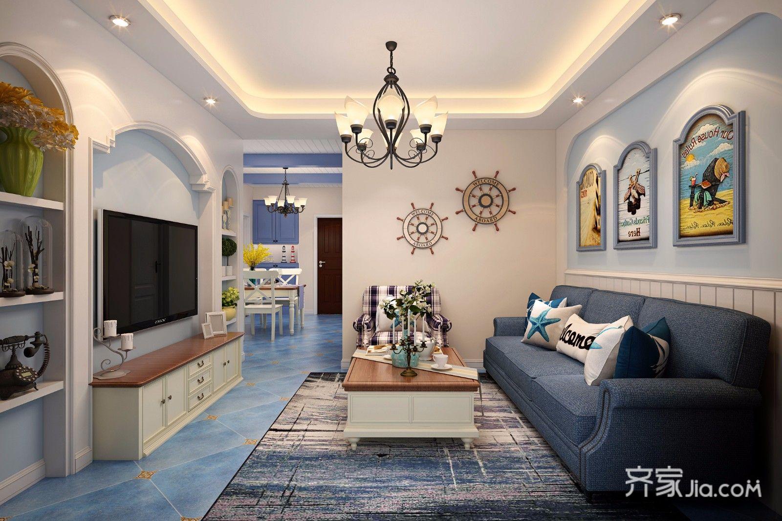 78平地中海风格二居客厅装修效果图