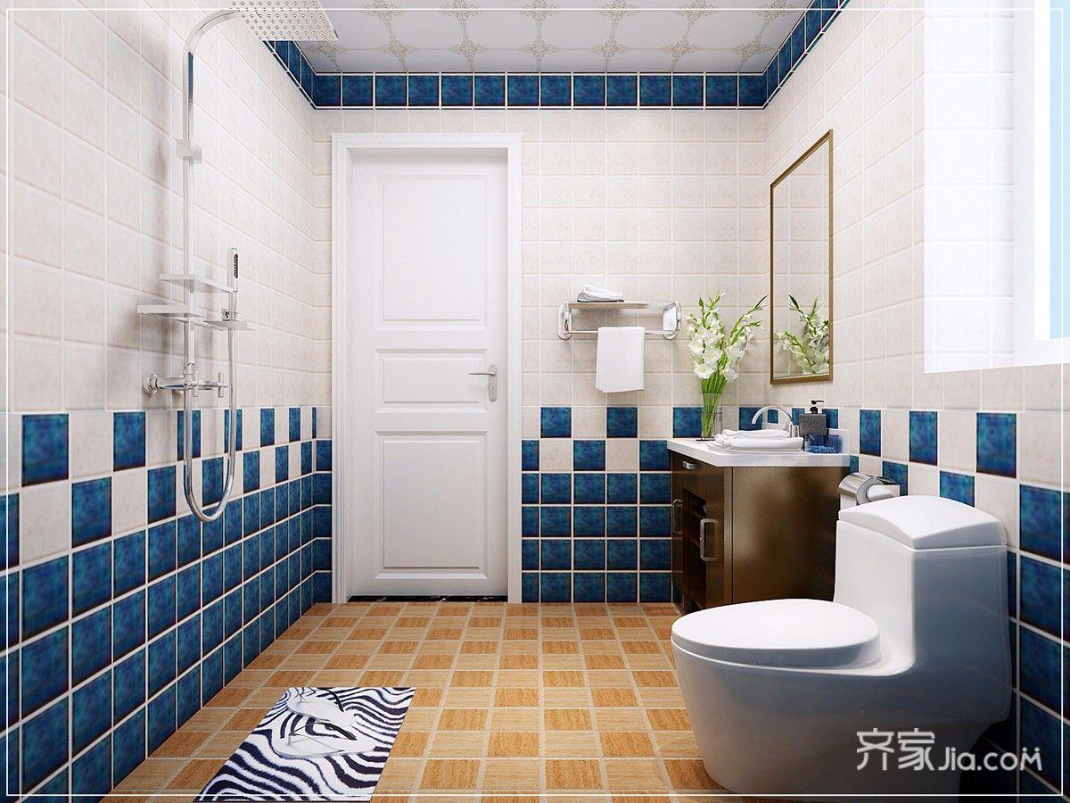 78平地中海风格二居卫生间装修效果图