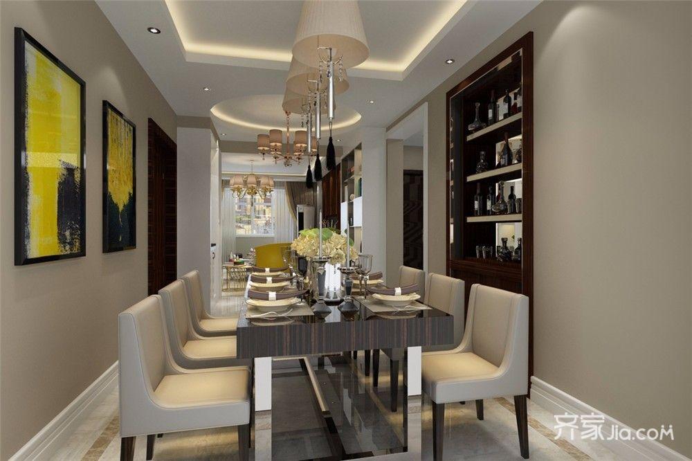 110平现代风格三居餐厅装修效果图