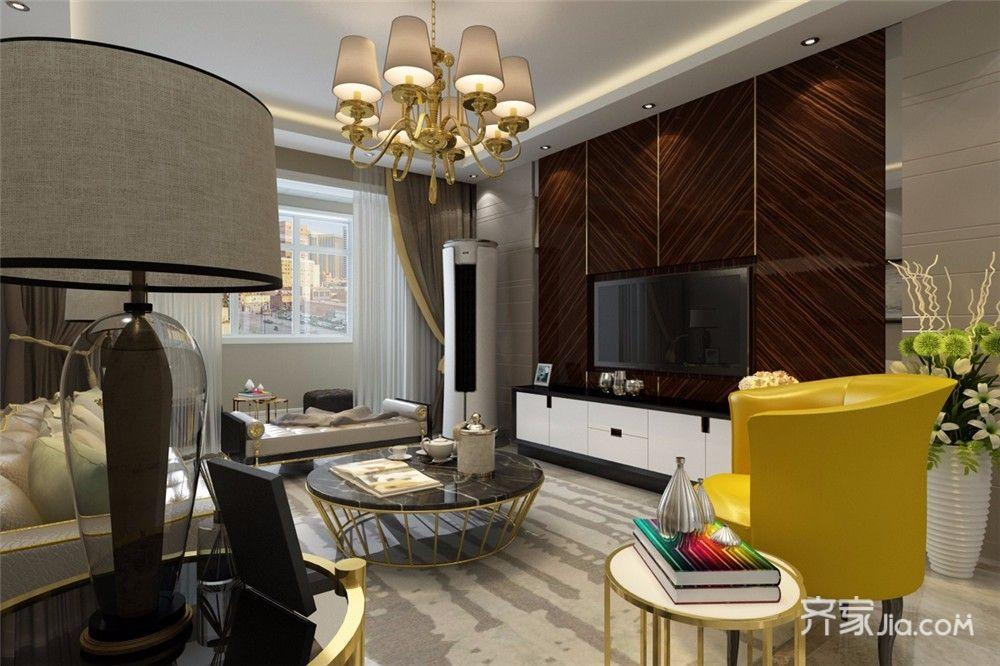 110平现代风格三居电视背景墙装修效果图