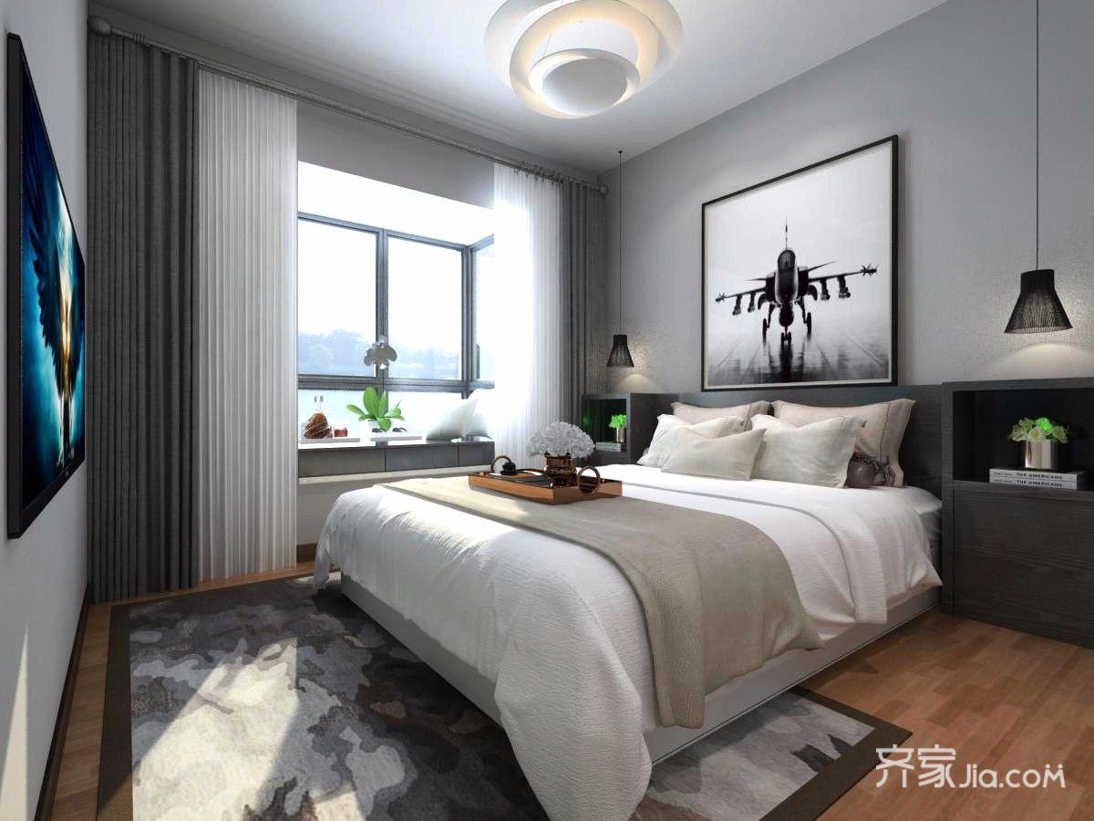 96㎡现代简约三居卧室装修效果图