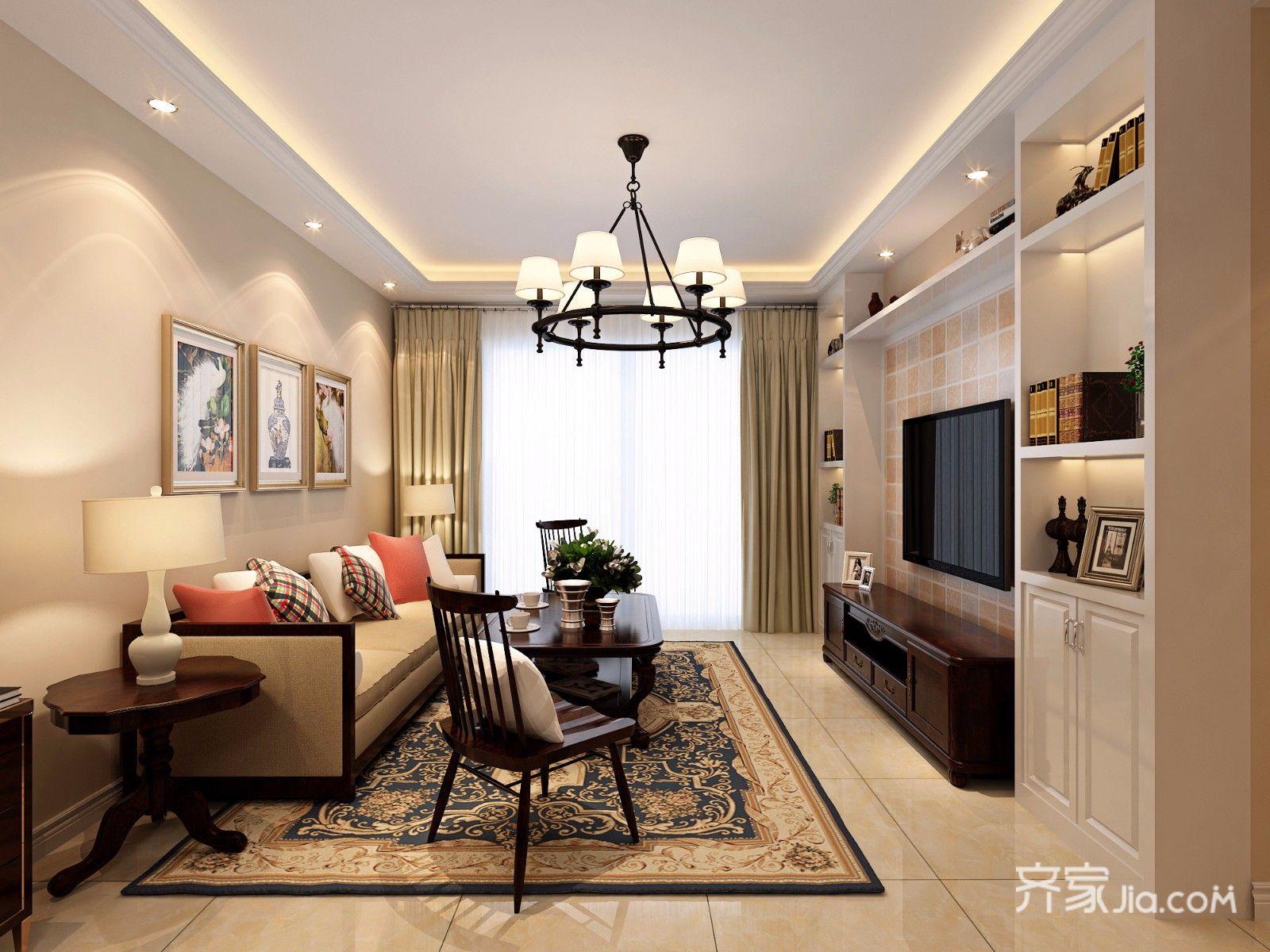 88㎡美式风格三居客厅装修效果图