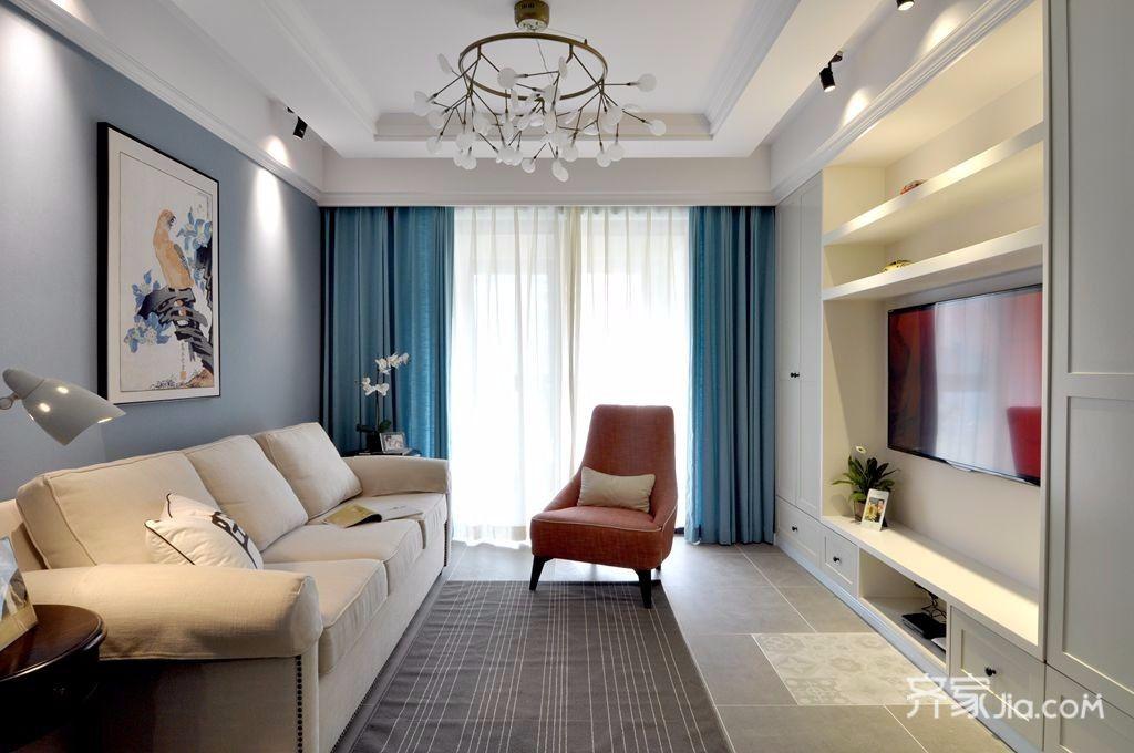 简约美式风格两居客厅装修效果图