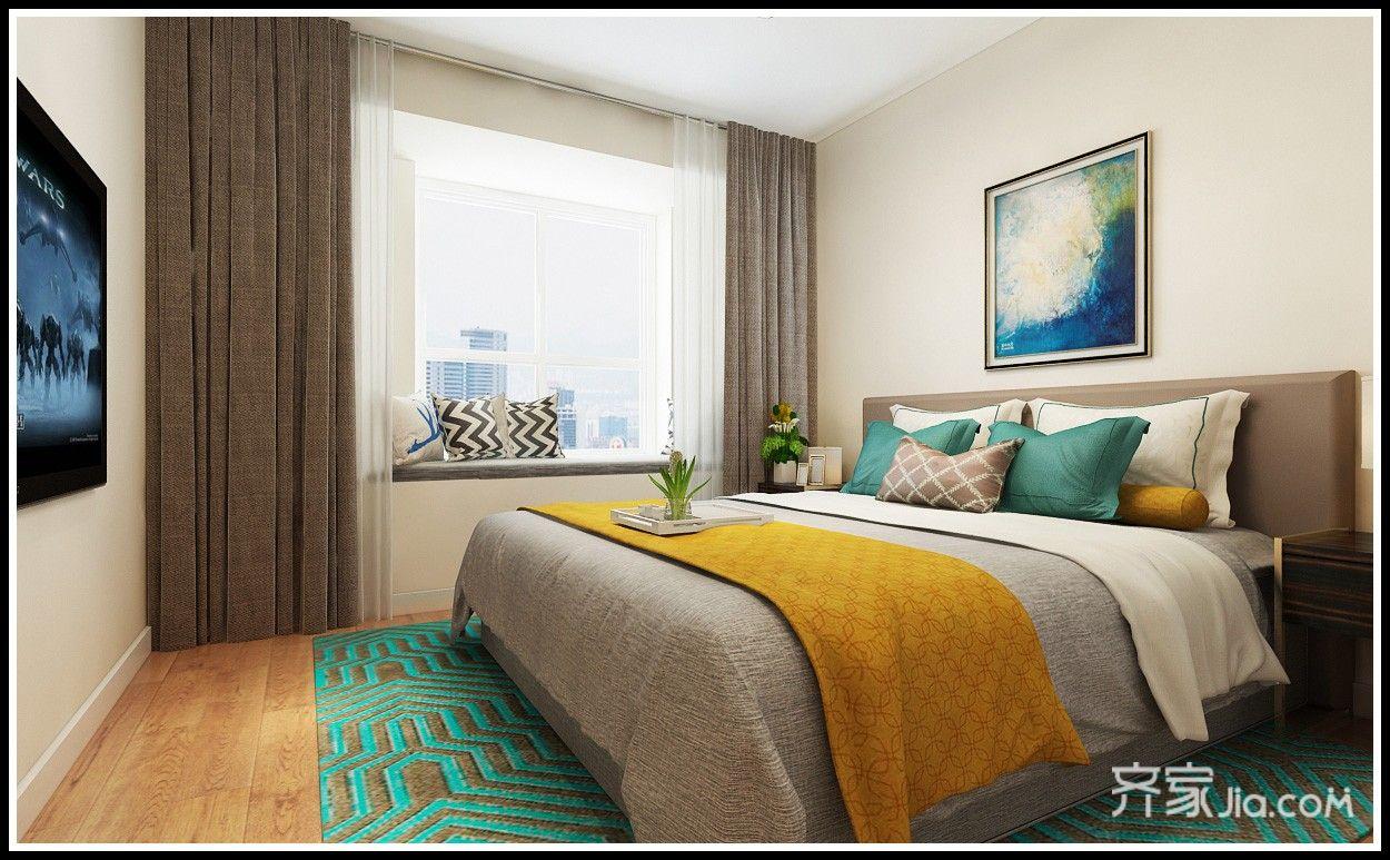 115平简约风两居卧室装修效果图