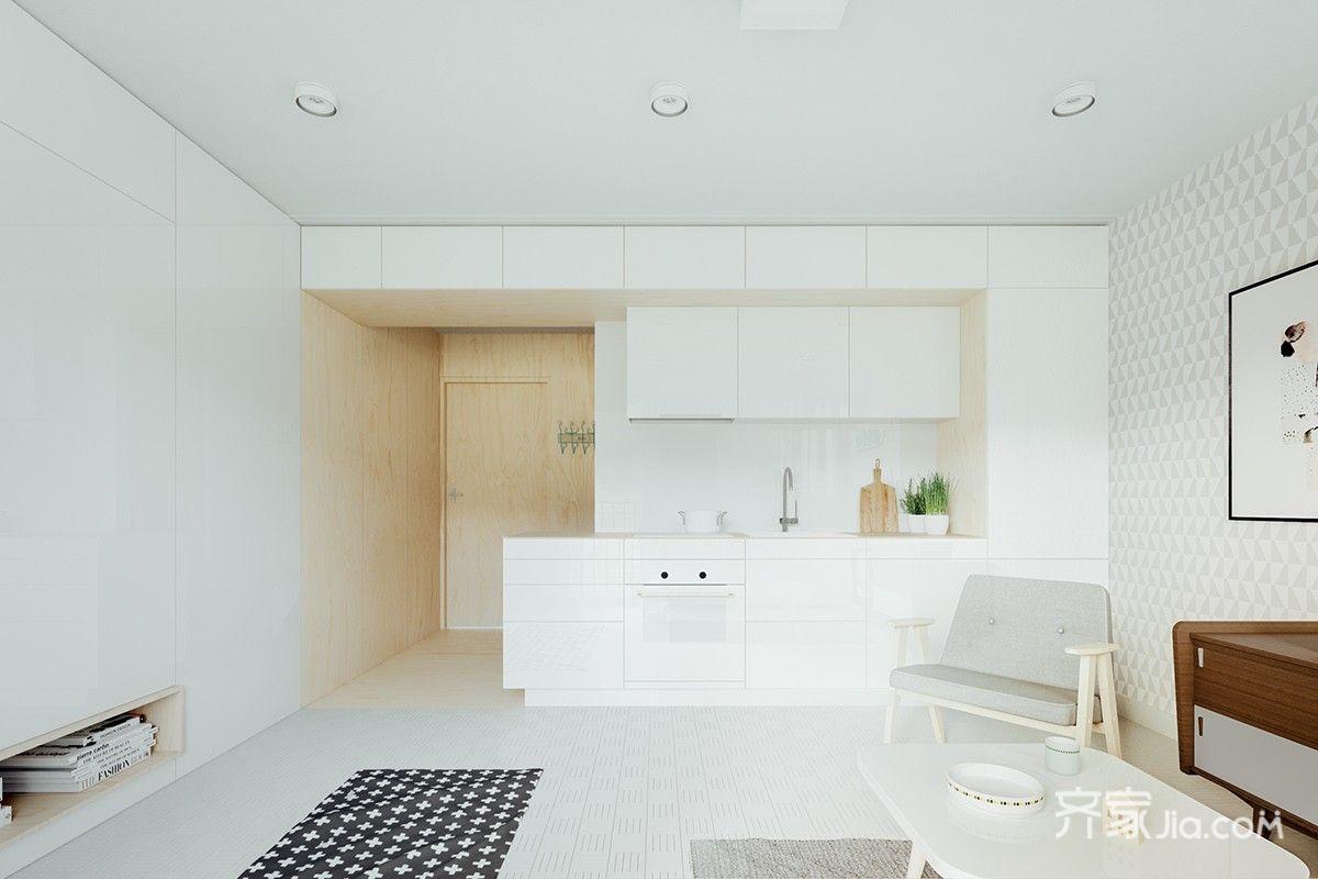 一居室北欧风公寓厨房装修效果图