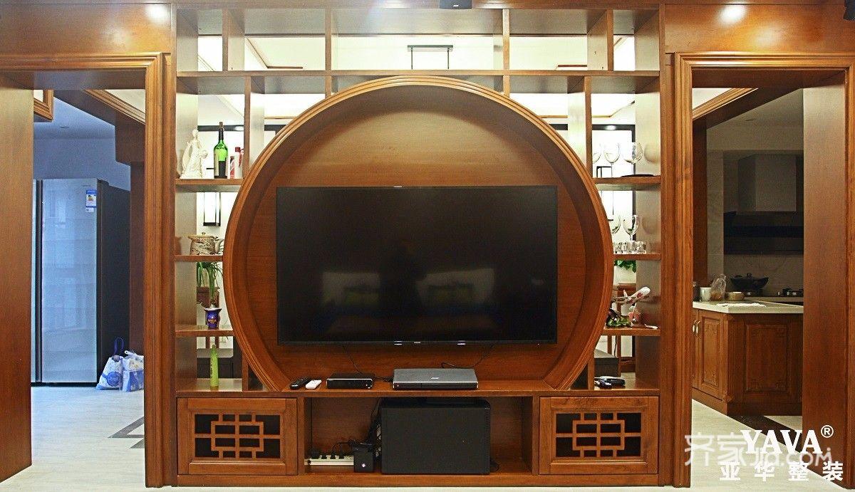 130平中式风格四居电视背景墙装修效果图