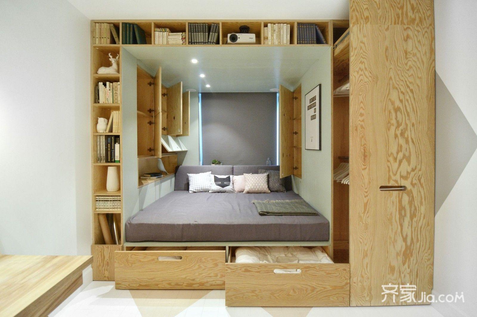 超小户型简约单身宿舍榻榻米床设计图