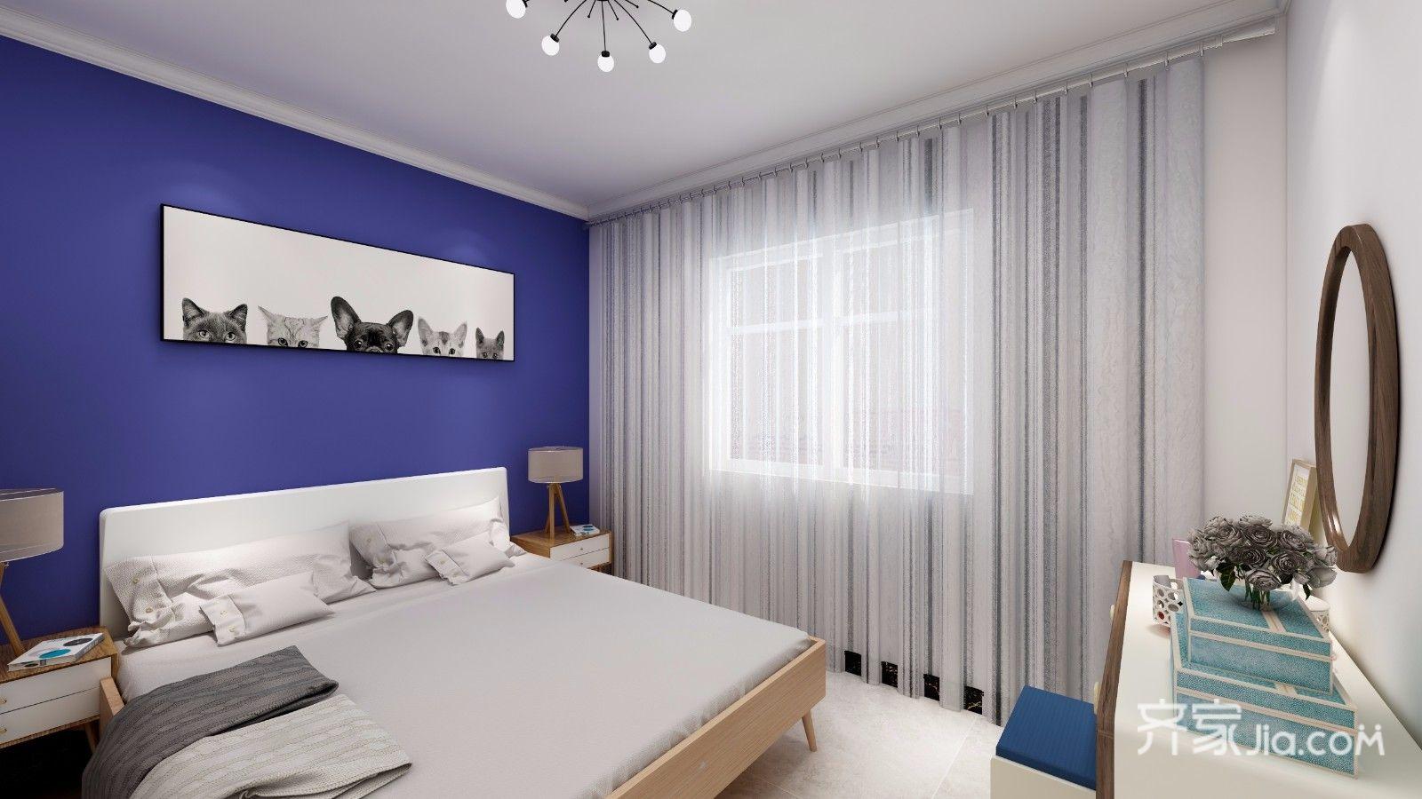 70平米简约二居卧室装修效果图