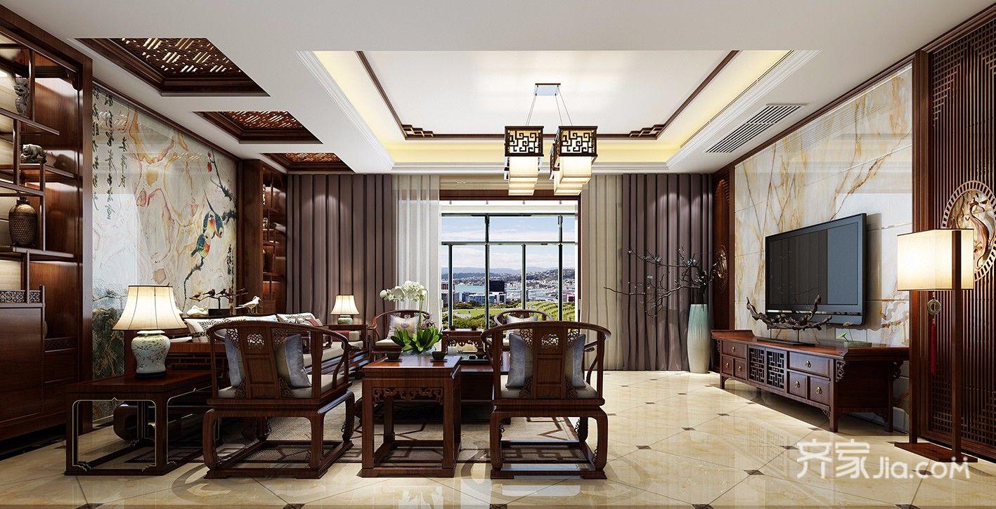大户型复式中式客厅装修效果图