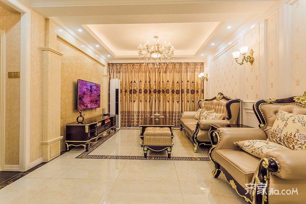 145平欧式风格四居客厅装修效果图