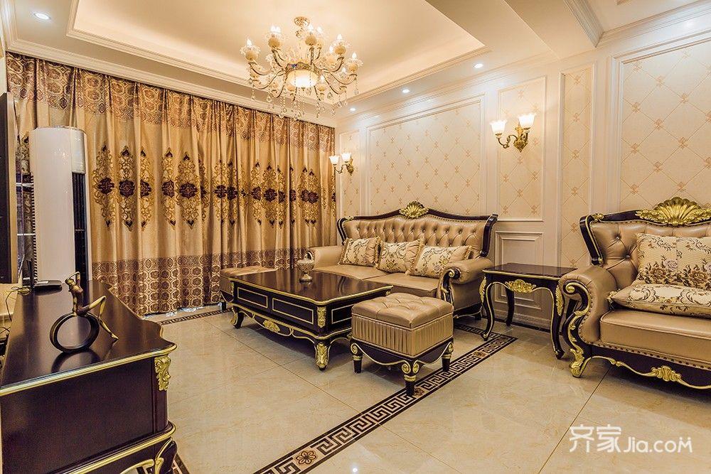 145平欧式风格四居沙发背景墙装修效果图