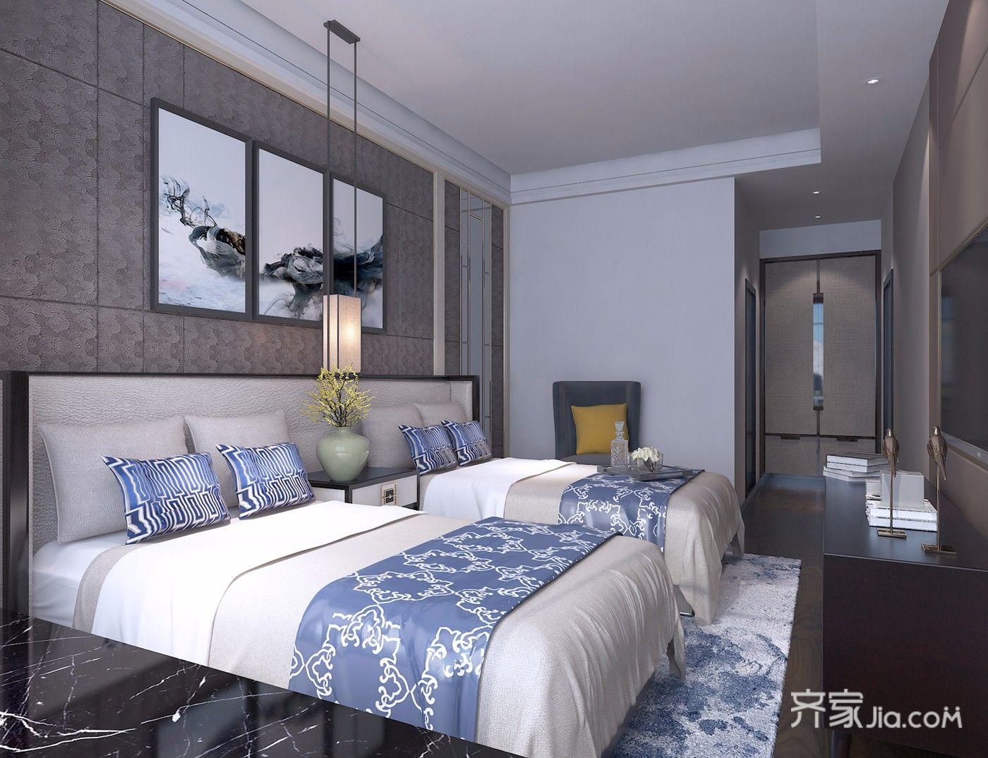 350平米中式别墅床头背景墙装修效果图