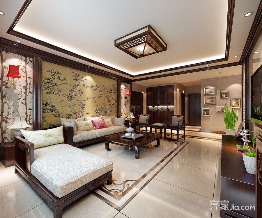 140㎡中式风格三居客厅吊顶装修效果图