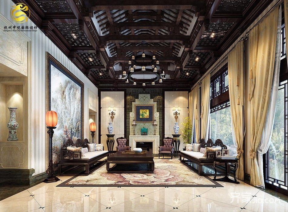 古典中式风格别墅客厅装修效果图