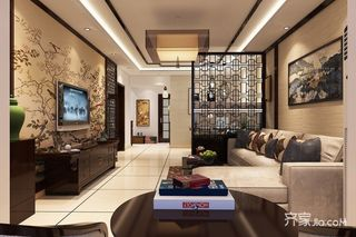 120㎡中式风格两居客厅装修效果图