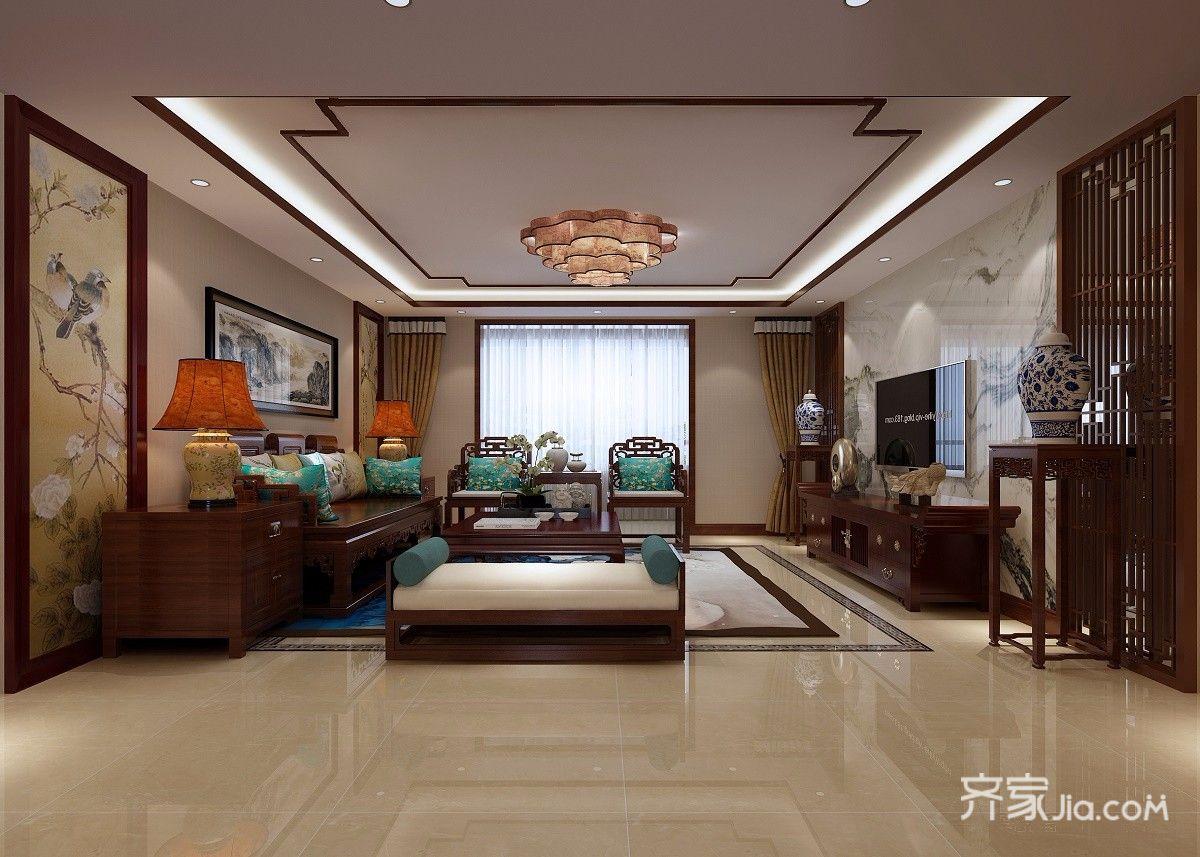 130平米中式三居客厅装修效果图