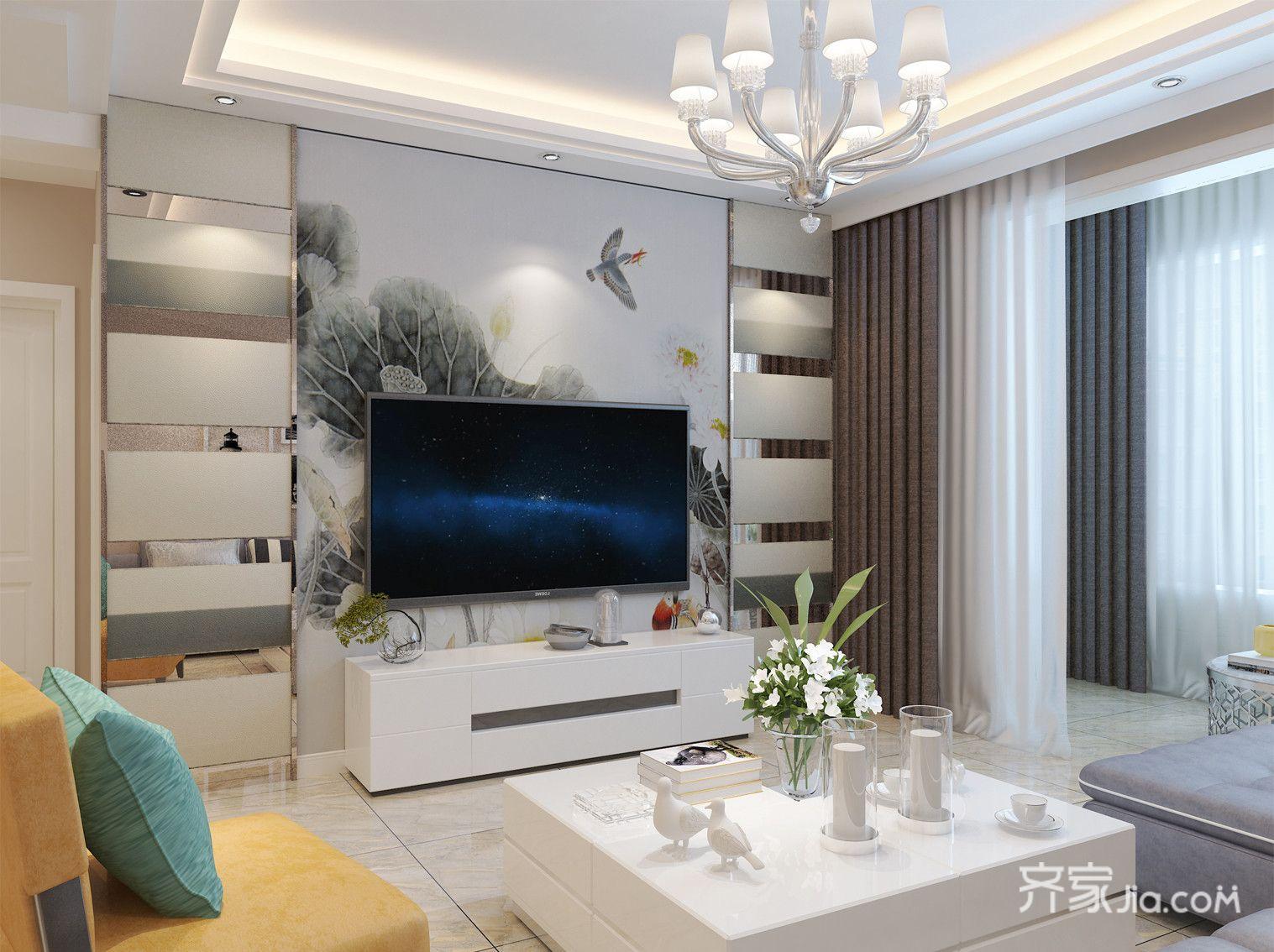 110平现代简约二居电视背景墙装修效果图