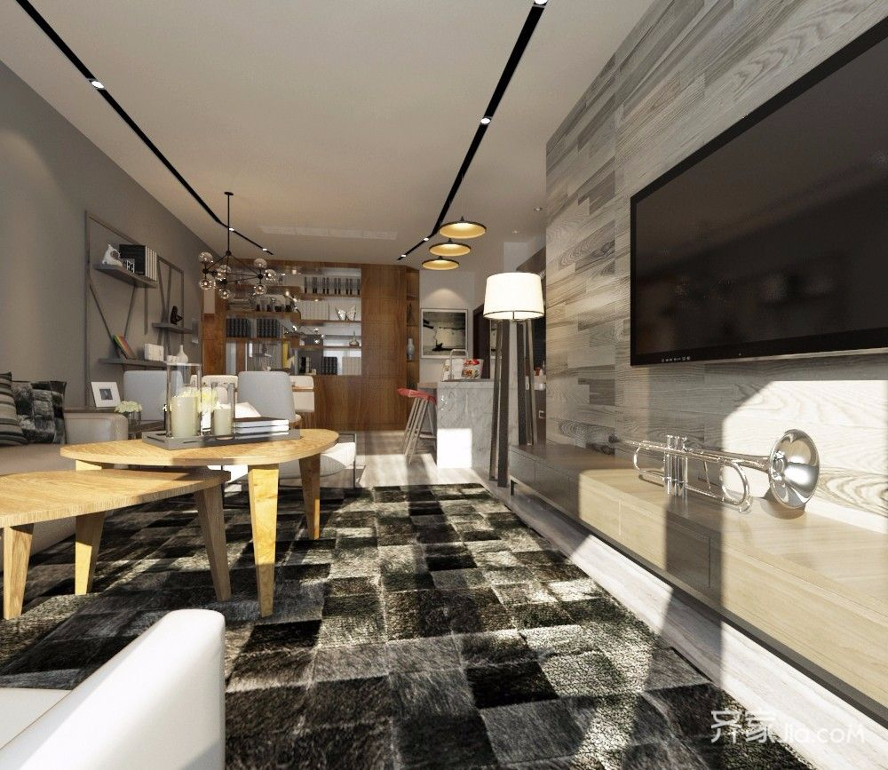 60㎡现代简约风格客厅装修效果图