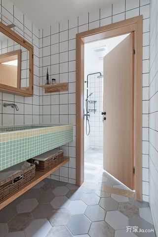 原木北欧风格三居装修洗手台设计图