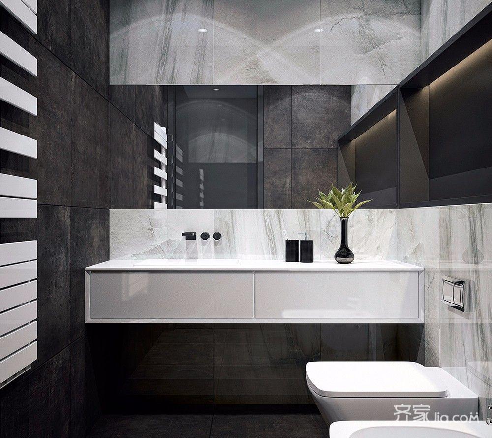 黑白灰现代简约两居装修洗手台设计图