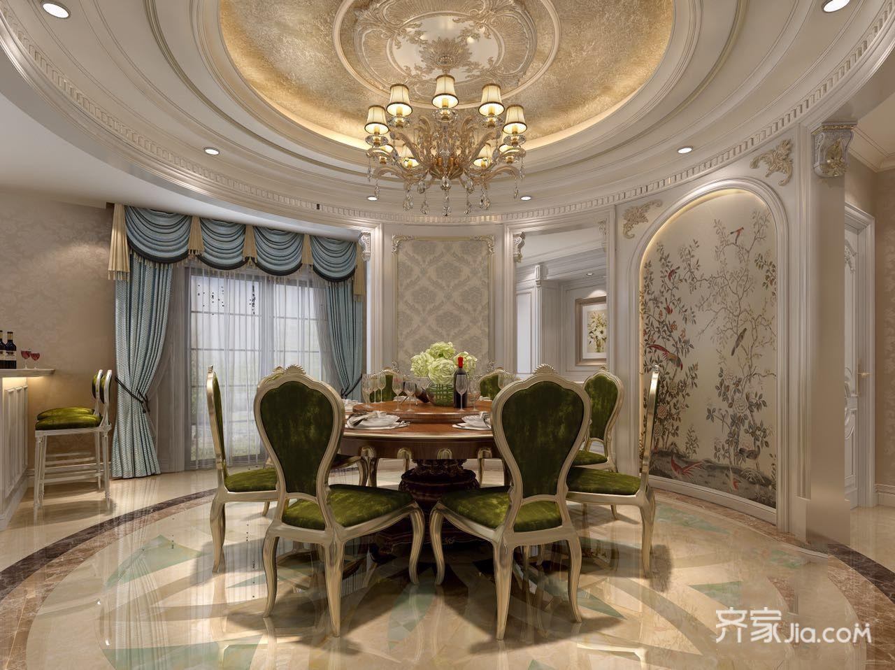 大户型豪华欧式别墅餐厅装修效果图