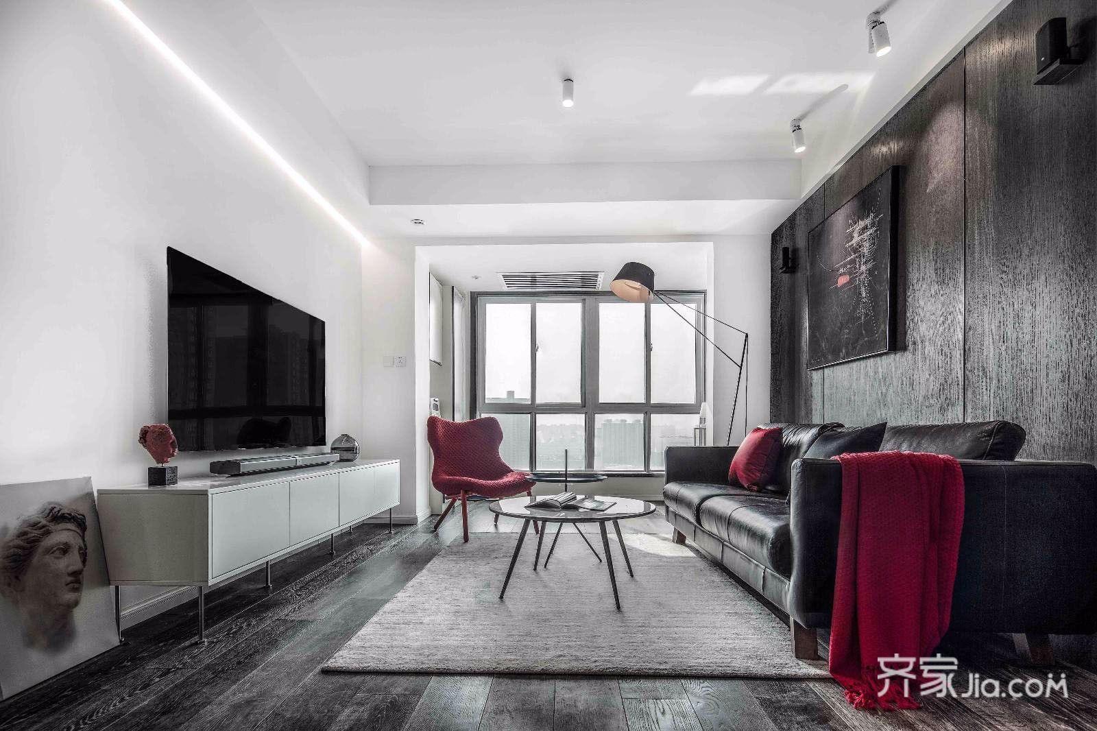 黑白现代简约风二居客厅装修效果图