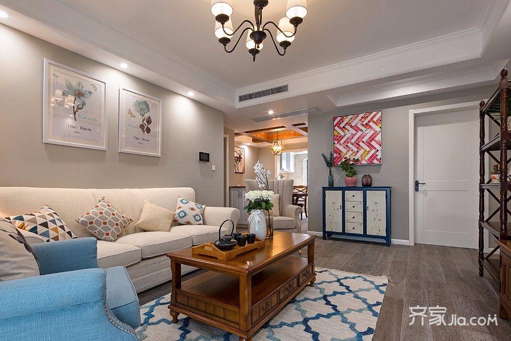 70平简约美式二居装修沙发背景墙效果图